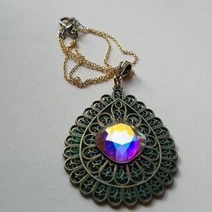 GASOLINE GLAMOUR Jewelry - GYPSY MEDALLION patina drop OPAL XL stone necklace